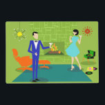 "Mid Century Modern Couple Laminated Placemat<br><div class=""desc"">This Mid Century Modern Couple Laminated Placemat looks like a scene out of a romantic comedy. The 1960&#39;s style, minimalist art design features an attractive cartoon couple enjoying a romantic evening at home. The sophisticated room prominently features a green stone wall with a roaring fire in the fireplace. The furnishings...</div>"