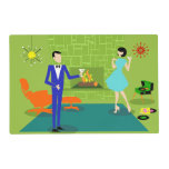 Mid Century Modern Couple Laminated Placemat<br><div class='desc'>This Mid Century Modern Couple Laminated Placemat looks like a scene out of a romantic comedy. The 1960&#39;s style, minimalist art design features an attractive cartoon couple enjoying a romantic evening at home. The sophisticated room prominently features a green stone wall with a roaring fire in the fireplace. The furnishings...</div>