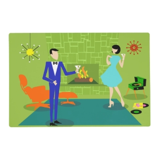 Mid Century Modern Couple Laminated Placemat at Zazzle