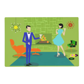 Mid Century Modern Couple Laminated Placemat
