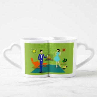 Mid Century Modern Couple Lovers' Mug Couples' Coffee Mug Set