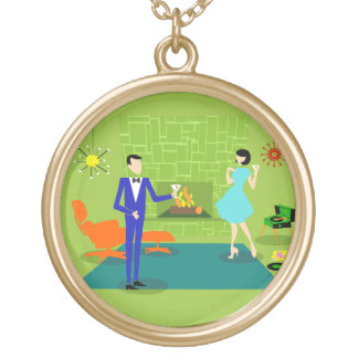 Mid Century Modern Couple Necklace