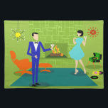 "Mid Century Modern Couple Placemat<br><div class=""desc"">This Mid Century Modern Couple Cloth Placemat looks like a scene out of a romantic comedy. The 1960&#39;s style, minimalist art design features an attractive cartoon couple enjoying a romantic evening at home. The sophisticated room prominently features a green stone wall with a roaring fire in the fireplace. The furnishings...</div>"