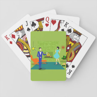 Mid Century Modern Couple Playing Cards