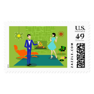 Mid Century Modern Couple Postage Stamps