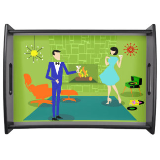 Mid Century Modern Couple Serving Tray