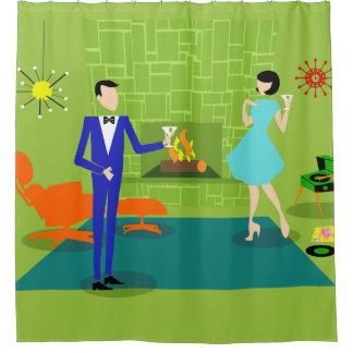 Mid Century Modern Couple Shower Curtain