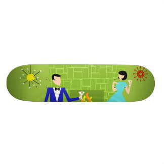 Mid Century Modern Couple Skateboard