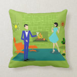 "Mid Century Modern Couple Throw Pillow<br><div class=""desc"">This Mid Century Modern Couple Throw Pillow looks like a scene out of a romantic comedy. The 1960&#39;s style, minimalist art design features an attractive cartoon couple enjoying a romantic evening at home. The sophisticated room prominently features a green stone wall with a roaring fire in the fireplace. The furnishings...</div>"