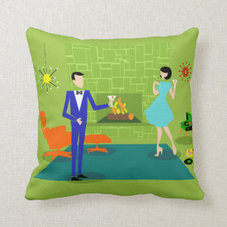Mid Century Modern Couple Throw Pillow