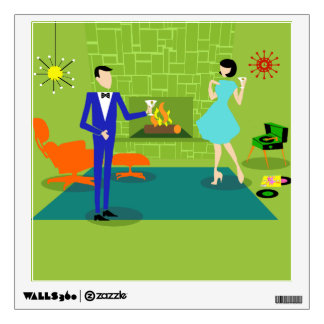 Mid Century Modern Couple Wall Decal