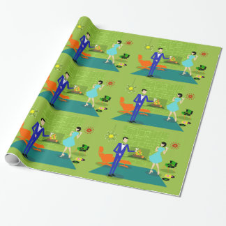 Mid Century Modern Couple Wrapping Paper