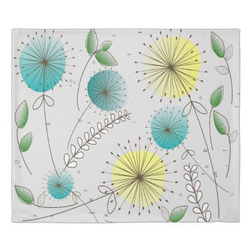 Mid-Century Modern Dandelion Clocks Duvet Cover