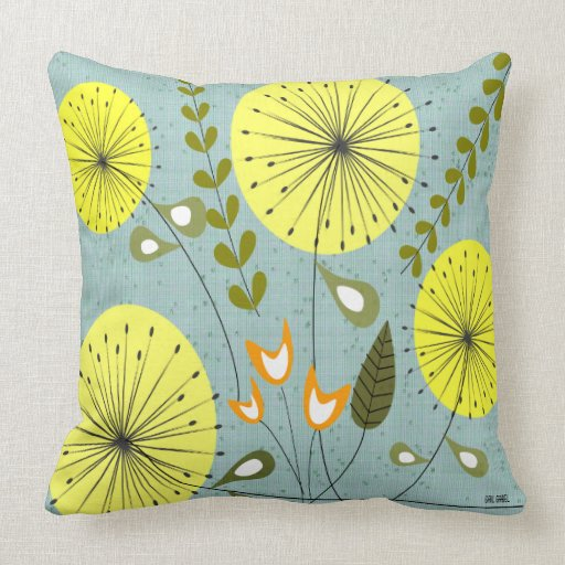 Mid Century Modern Couch Pillows : Mid-Century Modern Dandelion Clocks Yellow Throw Pillow Zazzle