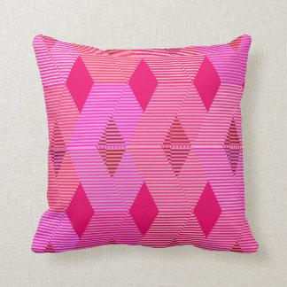 Mid-Century Modern Diamond Print, Fuchsia Pink Throw Pillow