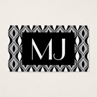 Mid-Century Modern Diamonds, Black, White and Gray Business Card