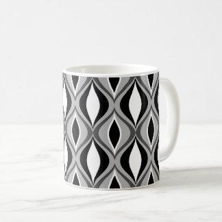 Mid-Century Modern Diamonds, Black, White and Gray Coffee Mug