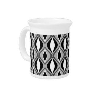 Mid-Century Modern Diamonds, Black, White and Gray Drink Pitcher