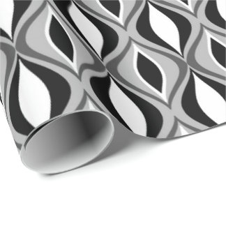 Mid-Century Modern Diamonds, Black, White and Gray Wrapping Paper