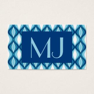 Mid-Century Modern Diamonds, Denim Blues Business Card