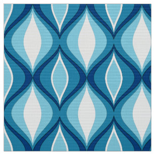 Mid Century Modern Diamonds Denim Blues Fabric