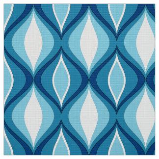 Mid-Century Modern Diamonds, Denim Blues Fabric