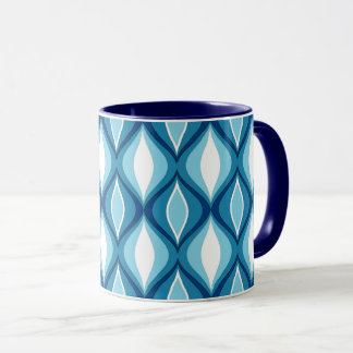 Mid-Century Modern Diamonds, Denim Blues Mug