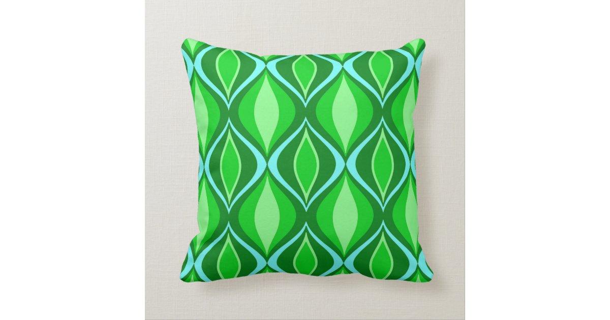 Mid-Century Modern Diamonds, Emerald Green Throw Pillow Zazzle