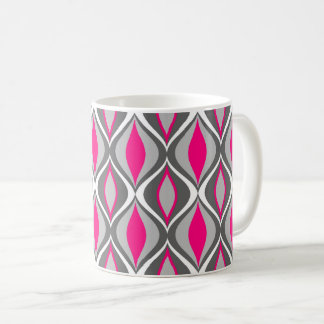 Mid-Century Modern Diamonds, Fuchsia and Gray Coffee Mug