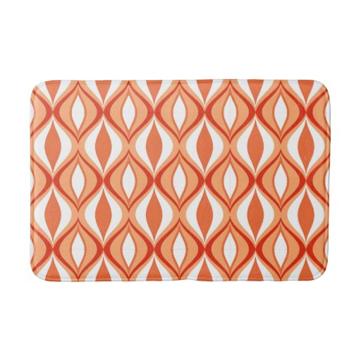 Mid Century Modern Diamonds Orange Amp White Bathroom Mat