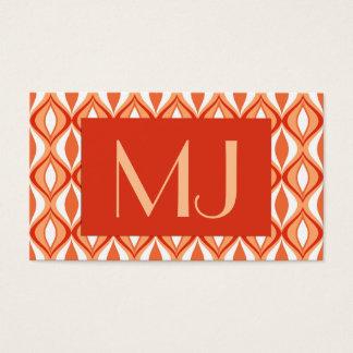 Mid-Century Modern Diamonds, Orange & White Business Card