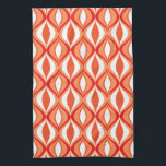 "Mid-Century Modern Diamonds, Orange &amp; White Kitchen Towel<br><div class=""desc"">Hand towel with a Mid-Century Modern diamond grid of nested marquise shapes - light and deep coral orange,  with white,  and dark mandarin orange accents</div>"