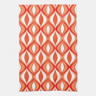 Mid-Century Modern Diamonds, Orange & White Kitchen Towel