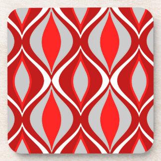 Mid-Century Modern Diamonds, Red & Gray / Grey Drink Coaster