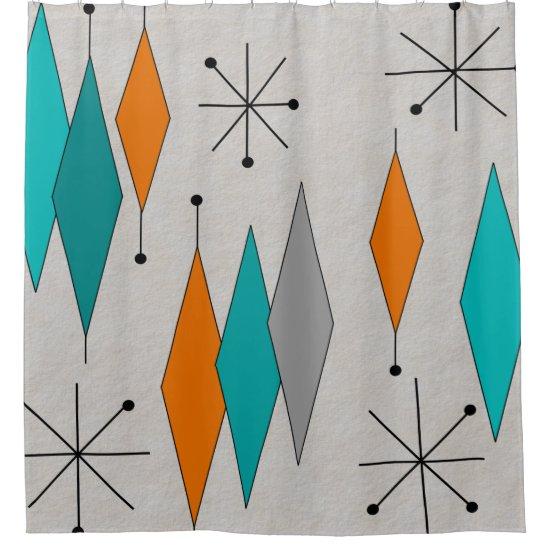 Mid-Century Modern Diamonds Teal Shower Curtain