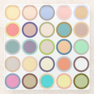 Mid-Century Modern Dots - white with pastels Glass Coaster