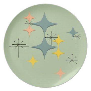 Beach Themed Mid Century Modern Eames Atomic Starbursts Custom Plate
