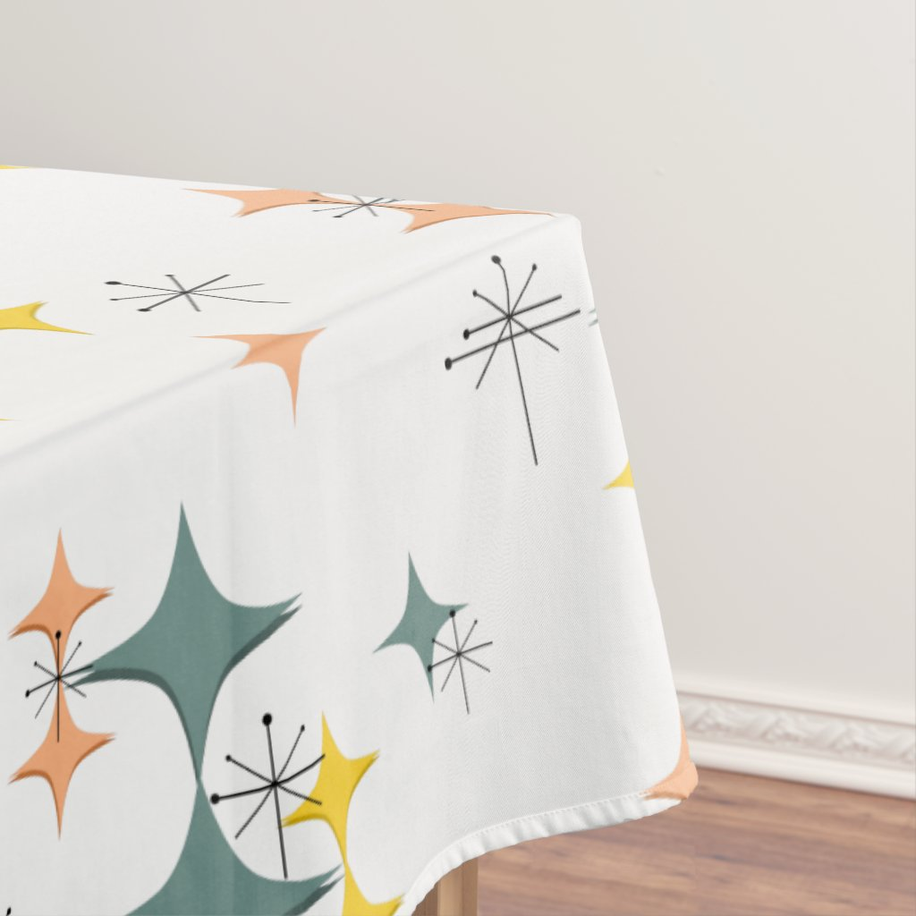 Mid Century Modern Eames Atomic Starbursts Custom Tablecloth