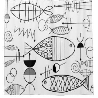 Mid-Century Modern Fish Art Black White Shower Curtain