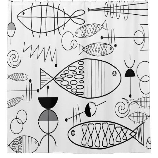 midcentury modern fish art black white shower curtain