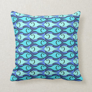 Mid-Century Modern fish, blue and aqua Pillows