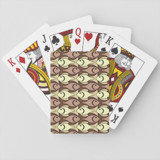 Mid-Century Modern fish, brown and yellow Deck Of Cards