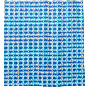 Mid Century Modern Fish Cobalt Blue Shower Curtain