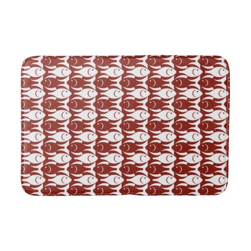 Mid Century Modern Fish Dark Red And White Bath Mat Zazzle