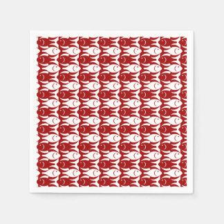 Mid-Century Modern fish, dark red and white Paper Napkin