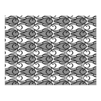 Mid-Century Modern fish, grey, white and black Postcard