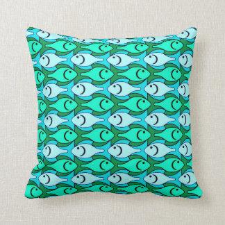 Mid-Century Modern fish, jade green and aqua Pillows
