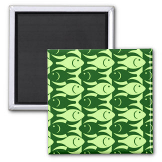 Mid-Century Modern fish, lime and dark green 2 Inch Square Magnet
