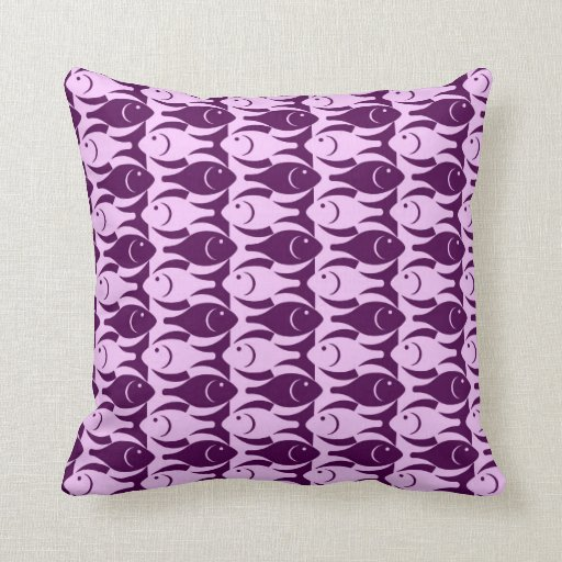 Modern Purple Throw Pillow : Mid-Century Modern fish, orchid and purple Throw Pillow Zazzle