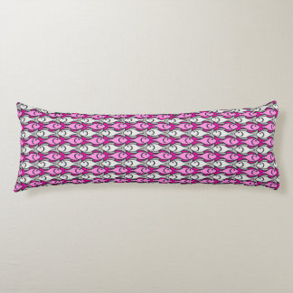 Mid-Century Modern fish, pink and grey Body Pillow